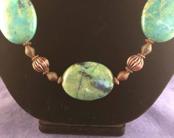 Copper and Bead Necklace - Copper Necklace - Oval Stone Necklace - Magnesite Necklace -