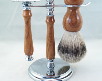 Yoshino Cherry Wood Shaving Set, Silvertip Brush You choose DE Safety razor or Fusion or Mach 3.