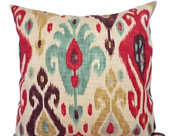 15% OFF SALE Two Ikat Couch Pillow Covers - Red and Brown Ikat Throw Pillows - Decorative Throw Pillow - Ikat Pillow Cover - Red Pillow