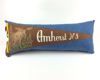 Canada Moose Vintage Pennant Pillow featuring Amherst Nova Scotia