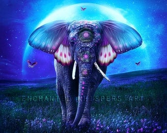 fantasy elephant butterfly ears print by Enchanted Whispers