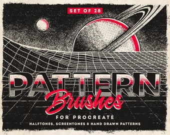 Pattern Procreate Brushes , Digital Drawing brushes,  Set of 28 brushes,  For the iPad app Procreate , halftone brushes