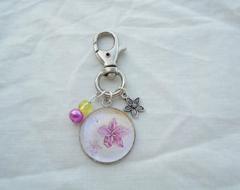 Pink flower cabochon bag charm