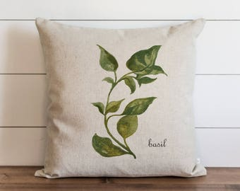 Botanical Basil 20 x 20 Pillow Cover // Everyday // Herbs // Gift // Accent Pillow