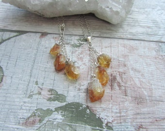 Citrine 3 Point Pendant - Raw Rough Dangle Necklace - Natural Gemstone Jewellery - Silver Plated