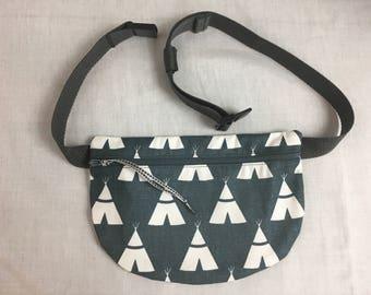 Charcoal Teepee Flat Zipper Fanny Pack, Waist Bag, Festival Bag, Hip Pouch