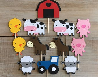 Farm Cupcake Toppers. Farm Birthday Party.