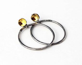 Silver and Gold Hoop Earrings. Large Silver Hoop Earrings. Post Hoop Earrings. Unique Hoop Earrings. Oxidized Hoop Earrings. Handmade Hoops
