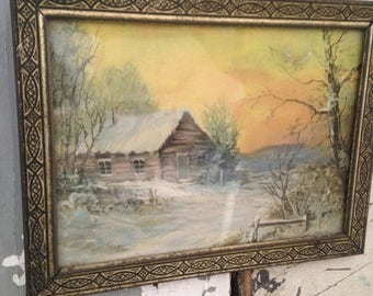 GoingOutOfBusinessSale vintage 1940 cabin lithograph,cottage art,cabin in winter,sunset,original decorative metal frame,rustic cabin scene,w