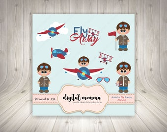 Aviator, Fly Away Clipart, Airplane Clipart, .PNG, Personal & Commercial Use, Instant Download!