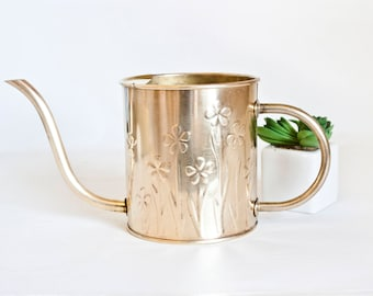 Vintage Solid Brass Watering Can, Small FTD Water Can Ferns Cacti Indoor Plants, Made in Holland by Nijhof Zevenaar