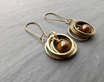 "Earrings ""rings"" bronzite, brown tone beads"