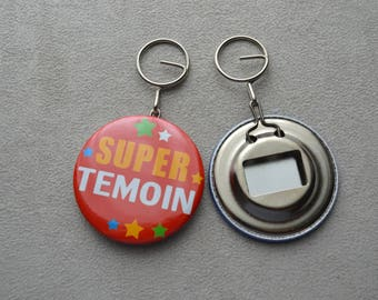 """bottle opener and keychain """"special witness"""" orange background"""