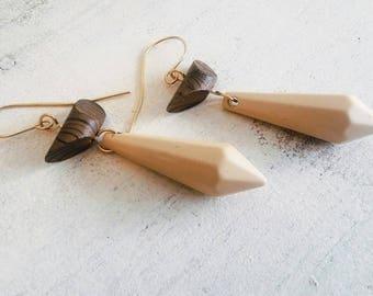 Contemporary earrings, Dangle long earrings, Statement long earrings, Modern jewelry, Modern gold earring, Drop earrings