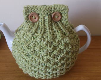 Pistachio Green hand knitted tea cosy with wooden button detail - Size LARGE to fit 10 cup teapot (1.7 Litre) - READY to SHIP
