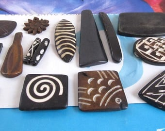 Batik Bone Cabs, Brown Bone Separators, Oval Divider, Sunflower Charm, Rectangle Pendant, 2 Hole Bone Pendant, Square Cabachon, 16 Pcs 09081