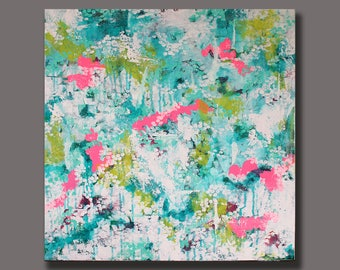 """FREE SHIPPING Large Abstract Art, Turquoise Green Pink White, In The Canopy, Acrylic Painting, 24"""" x 24"""" Gallery Canvas, Interior Design"""