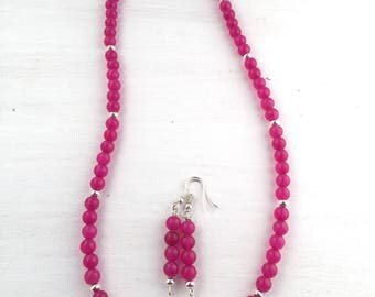 Pink necklaces for women, Pink beaded necklace