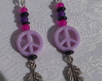 hippie earrings symbol of peace and love purple and leaf charm