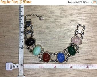 """10% OFF 3 day sale Vintage 7"""" Silver Toned Bracelet Pink Green Blue Black Scarabs Used"""