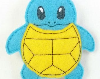 Blue Turtle Monster Finger Puppet - Finger Puppets - Quiet Toy - Christmas gift - Stocking Stuffer - Embroidered Felt Finger Puppet