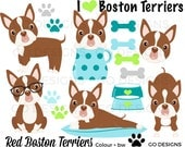 Boston Terriers Clipart, Red Boston Terrier, Dog Clip Art, Puppy Graphics, Digital Dogs, Instant Download