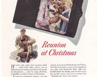 Kodak 1943 Time is Short Reunion at Christmas WW2 Vintage Print Ad