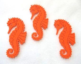6 seahorses, felt, 4.5 x8 cm (F10-0001A)