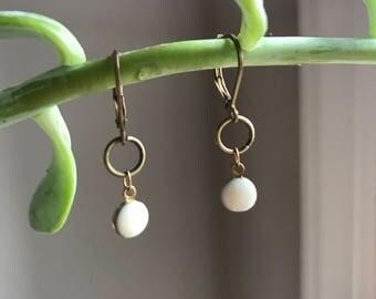 Cream Single Droplet Earrings