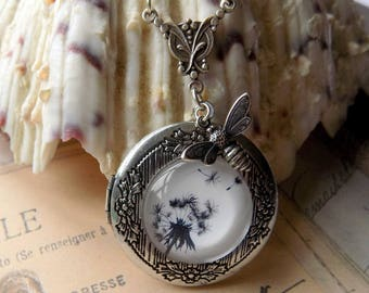 Dandelion Locket, Solid Perfume Locket, Vintage Style Locket, Silver Plated Locket, Dandelion Necklace, Bee Pendant, Photo Locket