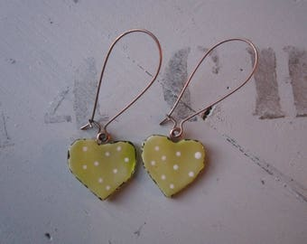 Anise, large hook finish copper glass fusing yellow heart earrings