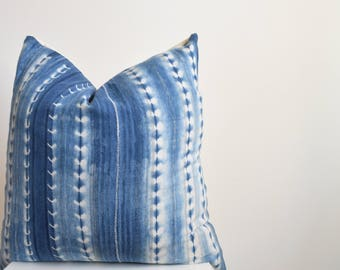 Authentic Vintage African Mud Cloth Pillow Cover, Indigo with White Stripes