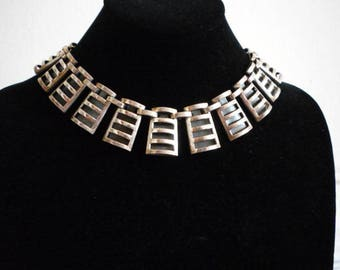 Vintage Cleopatra Style Silver Tone Geometric Choker Unsigned Renoir Necklace