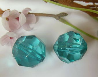 set of 2 faceted blue plastic beads