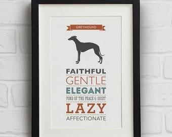 SALE 20% OFF Greyhound Dog Breed Traits Print