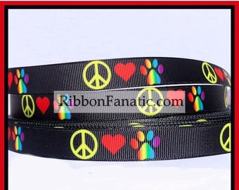 """ON SALE 5yds 5/8"""" Peace Love and Paws Grosgrain Ribbon"""