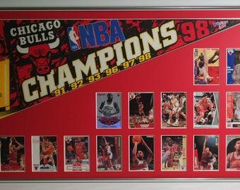 Chicago Bulls Basketball Pennant & Cards Retrospective...Custom Framed