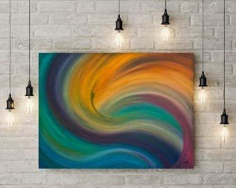 Colorful wall art Abstract ocean painting Wave painting Original modern oil painting on canvas Abstract seascape blue purple orange green