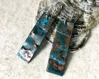 Blue patina earrings, Rustic copper patina earrings, Blue Green patina jewelry, Long primitive dangle, geometric, Rustic beach jewelry
