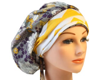 Scrub Cap Surgical Medical Hat Chemo Chef Vet Doctor Nurse Hat Banded Bouffant Tie Back Grey Purple Floral Yellow Band 2nd Item Ships FREE