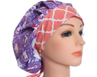 Scrub Cap Surgical Hat Unicorns Chef Dentist Hat Tie Back Bouffant Purple Peach 2nd Item Ships FREE