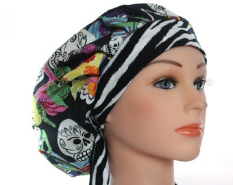 Scrub Cap Surgical Hat Chef   Dentist Hat Bouffant Skulls los Novios Black Red Blue Orange  Purple Pink Zebra  2nd Item Ships FREE