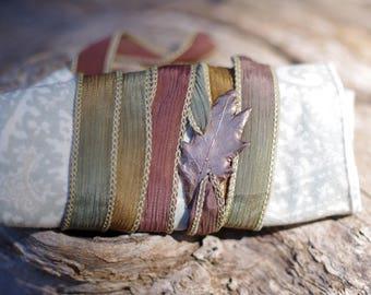 Oak Leaf Silk Wrap Bracelet - Rose Gold Bronze