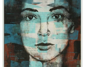 """Stunning Original Wall Art - Abstract Painting - Acrylic Painting - Ready to Hang - Abstract Portrait - Square Canvas 35.4"""" - Ronald Hunter"""