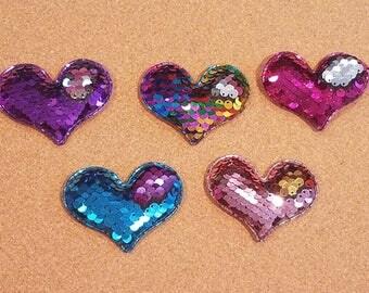 Changeable Sequin Heart Hair Clip