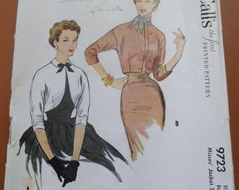 McCall 9723 Jacket Shrug Sweater Bolero Cropped Vintage Sewing Pattern 1950s 50s Size 14