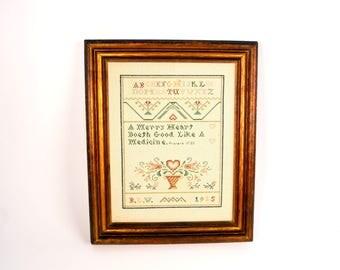 Framed Cross Stitch Sampler, Vintage ABC Sampler, Framed Sampler, Country Wall Décor, Vintage Picture, Proverb Sampler, Cross Stitch Picture