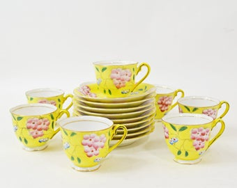 Japanese Tea Set, Set of 8 Yellow Cups Saucers, Japanese Tea Set, Demitasse Cups Saucers, Vintage Tea Cups, Made in Japan, Floral Tea Set
