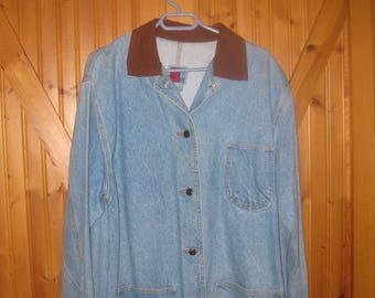ladys Sun Out Med   Denim Chore  Jacket in ladys 4 pocket front chore jacket farm chore attire ./ button front free ship