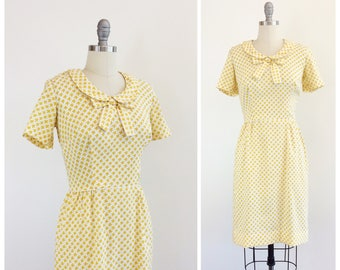 60s Yellow & White Wiggle Dress / 1960s Vintage Hourglass Dress / Medium / Size 6